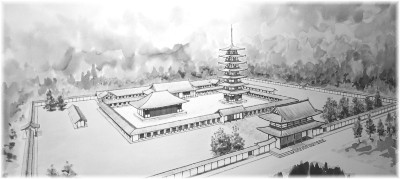 願興寺伽藍の想像図